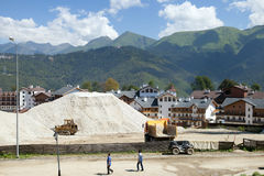 Construction of modern buildings in mountains Stock Images
