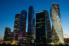 Construction of a modern business center in Moscow Stock Photo
