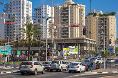 Construction of modern commercial complex BeSdera. Holon, Israel-July 21, 2016: Two-story modern commercial complex BeSdera is constructed in city center on Stock Image
