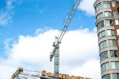 Construction of the modern condo buildings with huge windows and balconies Royalty Free Stock Photos