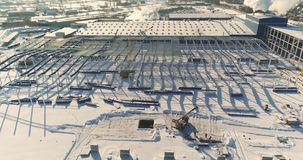 The construction of a modern factory air view, a large iron construction, a modern factory air view, Construction of a stock footage