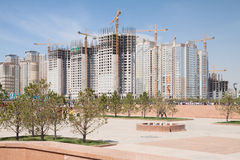 Construction of modern high-rise apartment complexes Royalty Free Stock Images