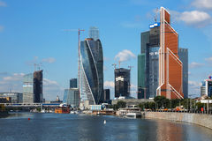 Construction of a modern high-rise business centerr Moscow city. Royalty Free Stock Image