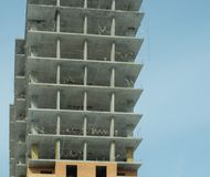 Construction of a modern high-rise residential building Royalty Free Stock Images