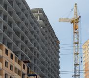 Construction of a modern high-rise residential building Royalty Free Stock Image