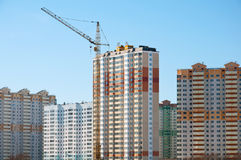 Construction of modern housing in Moscow, Russia Royalty Free Stock Images