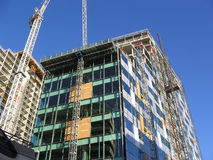 Construction of Modern Office Building in Liverpool. Construction of New Building in Liverpool England stock photo