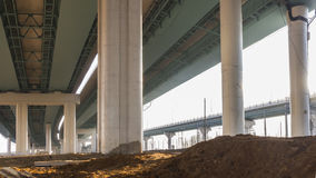Construction of modern overpasses. Intersection of modern overpasses in moscow Royalty Free Stock Image