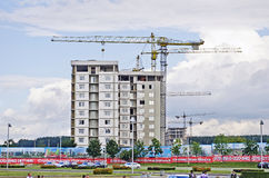 Construction of a modern residential building Royalty Free Stock Photo