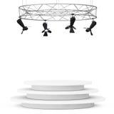 Construction moderne de projecteur d'étape en métal avec le podium 3d rendent Photo stock