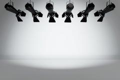 Construction moderne de projecteur d'étape en métal rendu 3d Image libre de droits