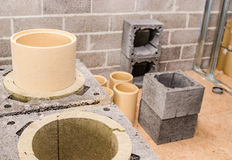 Construction of modular ceramic chimney Royalty Free Stock Photo