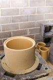 Construction of modular ceramic chimney Royalty Free Stock Photo