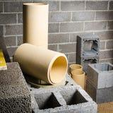 Construction of modular ceramic chimney Royalty Free Stock Images