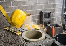 Construction of modular ceramic chimney Stock Image