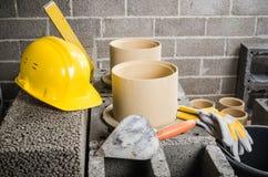 Construction of modular ceramic chimney Royalty Free Stock Image