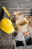 Construction of modular ceramic chimney Stock Photography