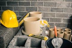 Construction of a modular chimney stock photo
