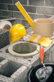 Construction of a modular chimney stock images