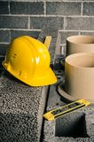 Construction of a modular chimney stock image