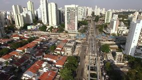 Construction of the monorail system, monorail line `17 gold`, Journalist Roberto Marinho Avenue, Sao Paulo, Brazil. Construction of the monorail system stock footage