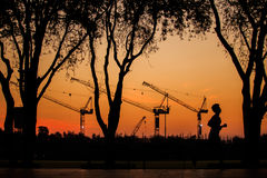 Construction. In morning. Man running in the sanamluang park Royalty Free Stock Images