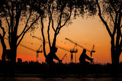 Construction. In morning. People cycling a bike in the sanamluang park Royalty Free Stock Photography