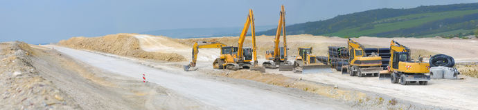 Construction of motorway, panorama Stock Images