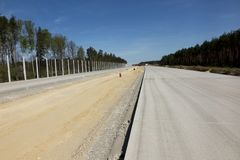Construction of the A1 motorway in Poland. Construction of the A1 motorway in southern Poland royalty free stock image