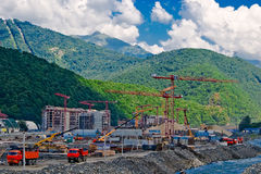 Construction in the mountains. On the shore of a mountain river in Sochi Stock Photos
