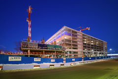 Construction of multi-level car parking. Moscow region, Domodedovo, Russia - December 15, 2016: Construction of multi-level car parking on the territory of the Royalty Free Stock Photo