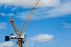 Construction Industry, Crane - Construction Machinery, Building - Activity, Burton upon Trent, Construction Equipment. Construction of a multi-storey building royalty free stock images