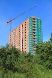 Construction of multi-storey building on the street Koshevogo in Kaliningrad in the foreground green tree crown. KALININGRAD, RUSSIA — JUNE 17, 2014 Stock Images