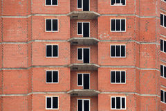 The construction of multi-storey houses of red brick Royalty Free Stock Photo