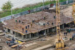 Construction of multi-storey residential building. Royalty Free Stock Images