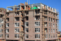 Construction of multi-storied brick houses Stock Photo