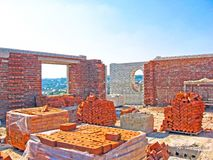 Construction of a multistory building. Brick and walls and ceilings of the unfinished floor.  stock image