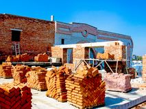 Construction of a multistory building. Brick and walls and ceilings of the unfinished floor.  royalty free stock photo