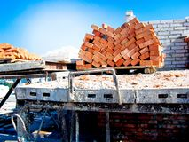 Construction of a multistory building. Brick and walls and ceilings of the unfinished floor.  royalty free stock photos