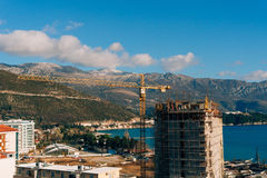 Construction of a multistory building in Budva, Montenegro. Buil Stock Photos