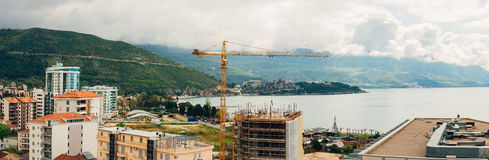 Construction of a multistory building in Budva, Montenegro. Buil Stock Image