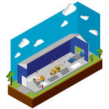 Construction of multistory building isometric design. Concept. flat  illustration Royalty Free Stock Image