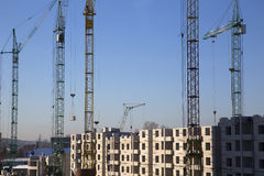 Construction of a multistory building. Technology on the construction of a multistory building Stock Photo