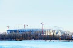 Construction 2018 mundial de stade Postov-sur-Don, 7 2017 febriary La banque gauche de la rivière Don Photo libre de droits