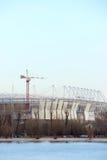 Construction 2018 mundial de stade Postov-sur-Don, 7 2017 febriary La banque gauche de la rivière Don Images libres de droits