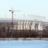Construction 2018 mundial de stade Postov-sur-Don, 7 2017 febriary La banque gauche de la rivière Don Photographie stock