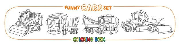 Construction and municipal cars coloring book royalty free illustration