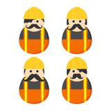 Construction mustache guy avatar portrait Royalty Free Stock Image