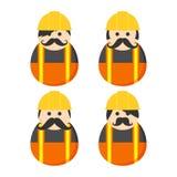 Construction mustache guy avatar portrait Royalty Free Stock Image