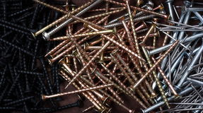 Construction Nails and Screws Background Royalty Free Stock Photo